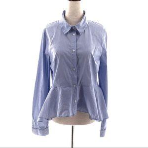 Forever21 Peplum buttonup longsleeve striped shirt